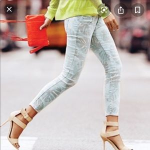 Cabi Paradise Palm Leaf Skinny Jeans